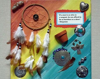 Southwest wall art, dream catcher, mixed media, collage, SW art, canvas wall hanging, Southwest decor, Native American quote