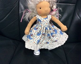"Kitty Cat print,  9"" Waldorf doll clothes, Pookibell"