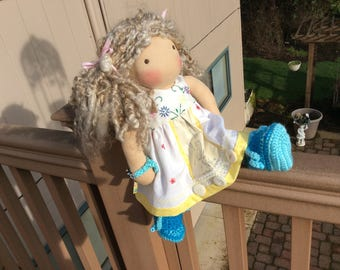 """Vintage linens, shabby chic, 14-16"""" Waldorf doll clothes,   Ooak"""