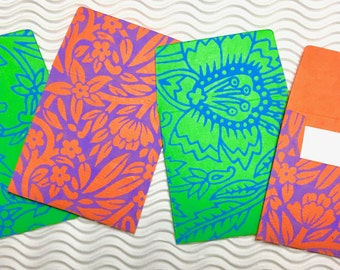 4 teeny tiny envelopes neon handmade papers miniature mini note sets square stationery party favors weddings guest book table numbers