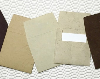 9 teeny tiny envelopes neutrals handmade papers miniature note sets square stationery party favors weddings guest book table numbers