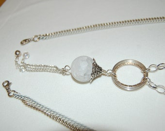 Crackled Quartz Necklace Trendy Necklace Long Dangle Necklace Adjustable Necklace Soothing Stones White Stones