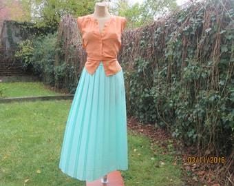 Pleated Skirt / Long Pleated Skirt / Maxi Skirt / Skirt Mint / Long Green Skirt / Accordion / Pleated Skirts / Size EUR42 / 44 UK14 / 16