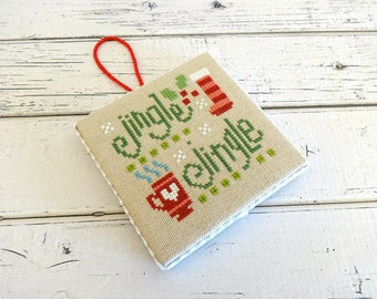 Christmas Ornament, Cross Stitch Ornament, Christmas Cross Stitch, Tree Ornament, Finished Cross Stitch, Completed Cross Stitch, Jingle