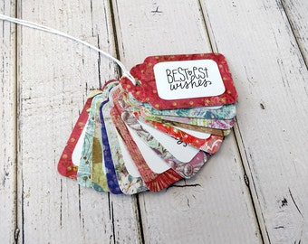 Gift Tags, Gift Tag Set, Assorted Tags, Paper Tags, Party Tags, Hang Tags, Set of 12 Tags, 12 Medium Tags, Birthday Tags, Bestest Wishes