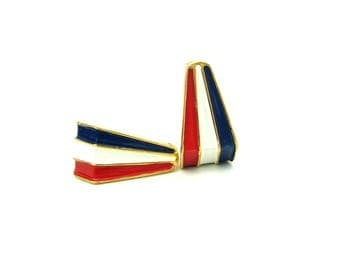 Patriotic Jewelry. Red White & Blue Stripe Enamel Earrings. Gold Tone Geometric Hoops. Crown Trifari Clip On. Vintage 1960s American Jewelry