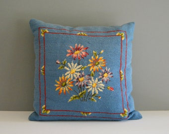 Vintage Needlepoint Pillow - Cross Stitch Blue Floral Flower Daisy Decorative Pillow