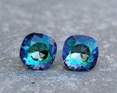 SALE 20% OFF Purple Blue Rainbow Earrings Swarovski Crystal Pastel Rainbow Square Stud Earrings Mashugana