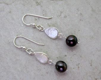 Tahitian Pearl Earrings, Sterling Silver, Mother of Pearl Bezeled Drops, Genuine Black Pearls, Elegant Christmas Gift Idea, Handmade Maui