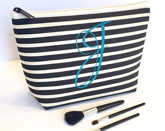 Monogram Cosmetic Bag ,  Black Creme Stripe , Turquoise Glitter , Bridesmaid Maid of Honor Gift , Personalized Travel Accessory , Birthday