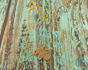 Autism Awareness Necklace, Bronze Puzzle Piece, 14 K Gold filled chain, Autism jewelry