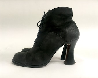 Witchy Granny Boots Lace Up Black Booties Goth Punk Witch