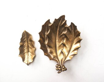 Pair of Vintage Solid Brass Holly Leaf Dishes