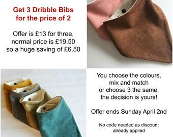 Baby Dribble Bib OFFER - 3 for the price of 2 - Baby Bandana Bibs - Set of 3 - Baby Bibs - Sale Price