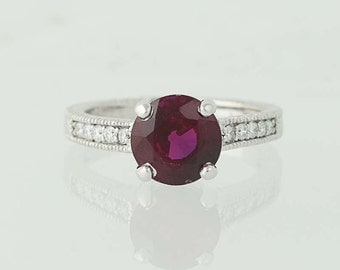 Engagement Ring Synthetic Ruby & Diamond Ring - 14k White Gold Engagement 3.97ctw Unique Engagement Ring N5246