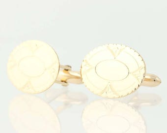 Vintage Oval Cufflinks - 10k Yellow Gold Etched Design Men's Gift N9606
