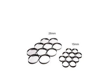 Round tin pans for pressing powder, pigments, eye shadow makeup samples book of shadows