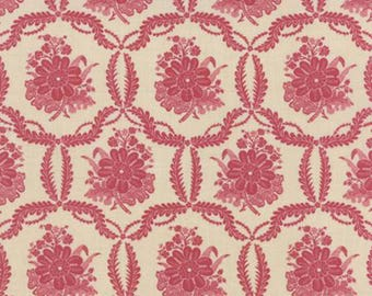 French General Ville Fleurie Collection, 13763 21 Faded Red Honfleu, Sold by the Half Yard