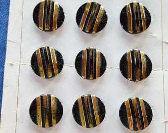 Vintage Czech Glass Buttons - Black Glass with Gold Luster on Original Card - Lot of 12