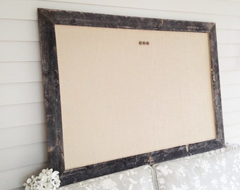 HUGE Barnwood Frame MAGNETIC Bulletin Board Reclaimed Recycled Weathered Gray Rustic Barn 35 x 48 Handmade Frame Tan or White Burlap Fabric
