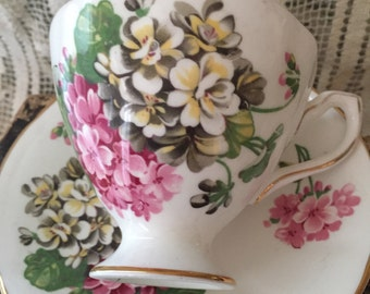 Antique vintage collectible Staffordshire bone china cup and saucer gorgeous hydrangea pattern!