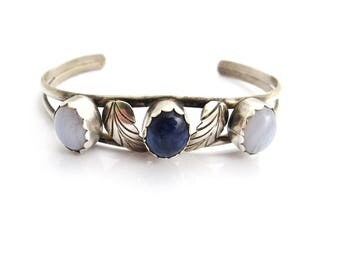 Vintage Lapis Lazuli Bracelet, Silver Lapis Cuff, Moonstone Bracelet, Silver Bracelet Blue Stones, Southwest Style Jewelry, Lapis Jewelry