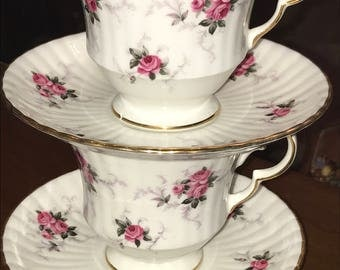 2 sets HAMMERSLEY Windsor tea cup and plates Arkwright PrincessRose pattern. Fine Bone China.Made In England.Spode Brothers. Retired sets!
