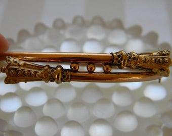 Antique Rose Gold, Etruscan Style, Victorian Hinged Bangle Bracelet