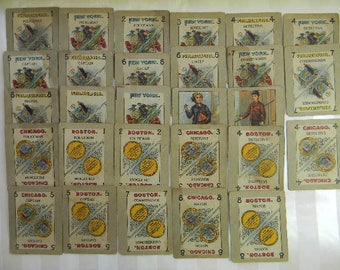 Antique Children's Game, 28 Cards, City Police, Stop Thief, Rats