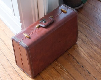 Vintage Luggage Samsonite Suitcase with Brass Hardware & Pink Interior Shwayder Bros. Denver Style 4921
