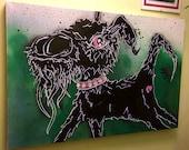 Graffiti dog painting on ...
