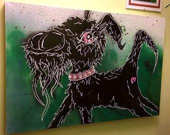 Graffiti dog painting on canvas by Vinni Kiniki