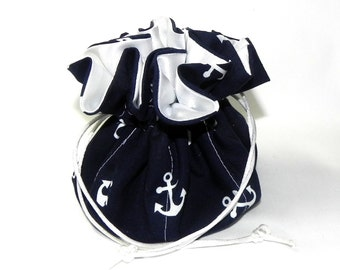 Drawstring Jewelry Pouch - Jewelry organizer -  Navy blue and white anchors travel bag