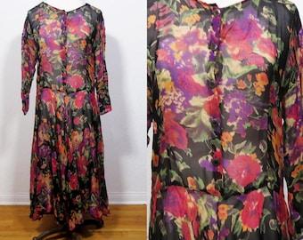 Vintage 1980s 1990s Sheer Floral Goth boho gypsy maxi Dress. revival grunge bohemian hippie festival dress