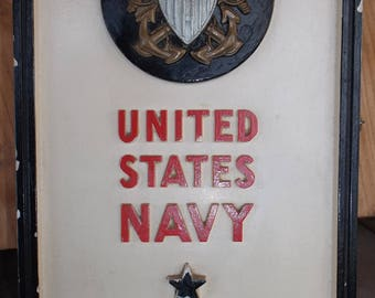 Interesting  1930s US NAVY Advertising Sign with Eagle, Chaulkware made by Kopolak Kolograph Co  CA