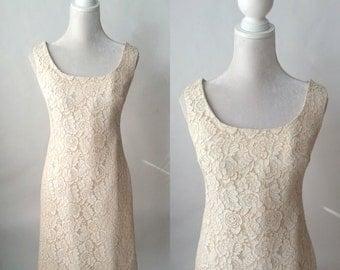 Vintage Dress, 1960s Lace Dress, Vintage Lace Dress, Retro 60s Dress, 1960 Shift Dress, Lace Shift Dress, Sleeveless Lace Dress, 60s Bridal