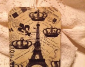 Eiffel Tower Fleur de Lis Gift Tags, French Style Tags, Parisian Style Tags, Old World Style, Gift Wrap, Package Embellishment, Set of 3