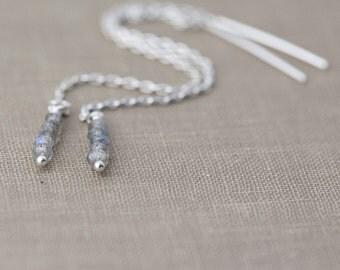 Gemstone Threader Earrings | Minimal Sterling Silver Labradorite Earrings | Minimalist Handmade Jewelry by Burnish