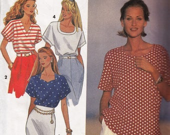 "Women's Sewing Pattern SummerTops Short Sleeve 1990's UNCUT Sizes L-XL 18-20 Bust 40-46"" Plus Size Simplicity 8373"
