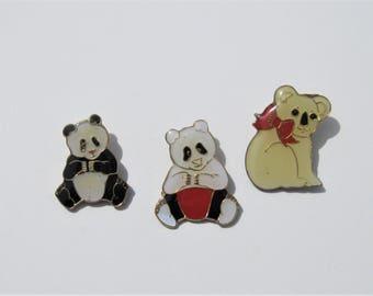 Vintage Enamel Bear Pins: 3 Vintage Bear Pins, Panda and Koala