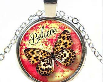 Believe Spotted Butterfly Glass Cabochon Necklace