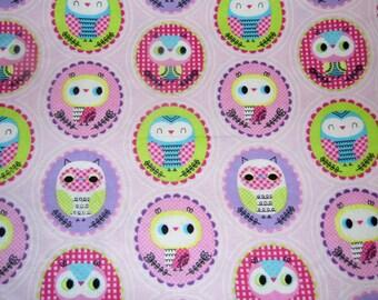 Baby Owl - Pink Fabric - Baby Fabric - Purple Fabric - Girl Fabric - Flannel Fabric - Cotton Fabric - Nursery Fabric - Novelty Fabric
