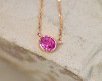 Pink Sapphire Rose Gold Layering Necklace, Handmade Sapphire Jewelry, Keepsake Gift for Her