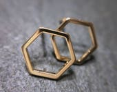 Gold or silver geometric hexagon stud earrings