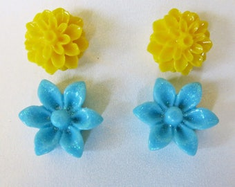 Flower Earring Studs Mothers Day Jewelry Yellow Flower Studs Earrings Blue Flower Studs Bridesmaid Gift Bridal Jewelry Summer Wedding