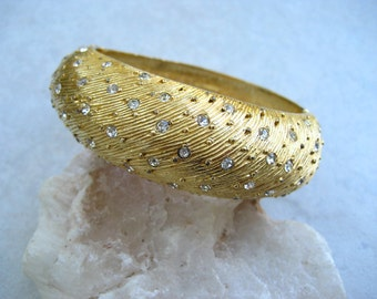 Vintage Castlecliff Bracelet Rhinestone Gold Tone Hinged Clamper