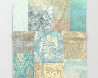 Vintage Kilim Patchwork Throw Blanket, Light, Romantic, Victorian, Antique Damask, Home Decor, Shabby Chic, stone blue, duck egg, teal, sand