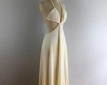 Vintage 70s ivory midriff cutout maxi dress - 1970s cream backless polyester halter dress - medium