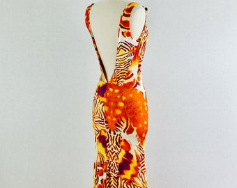 Roberto Cavalli  jersey dress - plunging back body hugging African print summer dress - medium