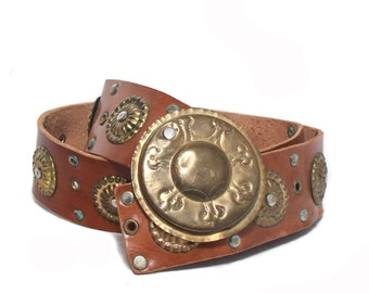 32 waist | Leather and Brass Moroccan style Belt